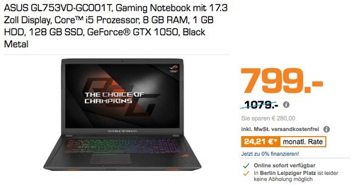 ASUS GL753VD-GC001T Gaming Notebook  - jetzt 26% billiger