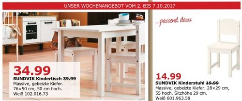 IKEA SUNDVIK Kindertisch, 76x50 cm, 50 cm hoch, weiß - jetzt 13% billiger