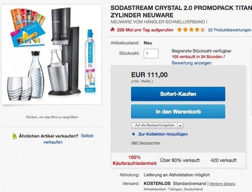SodaStream Crystal 2.0 Promopack titan - jetzt 11% billiger