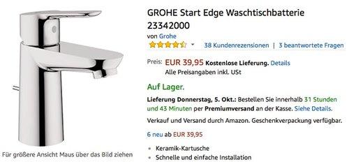 GROHE Start Edge Waschtischbatterie 23342000 - jetzt 11% billiger