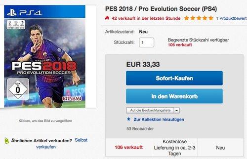 PES 2018 (PS4) - jetzt 16% billiger