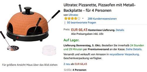 Ultratec Pizzarette, Pizzaofen mit Metall-Backplatte - für 4 Personen - jetzt 16% billiger