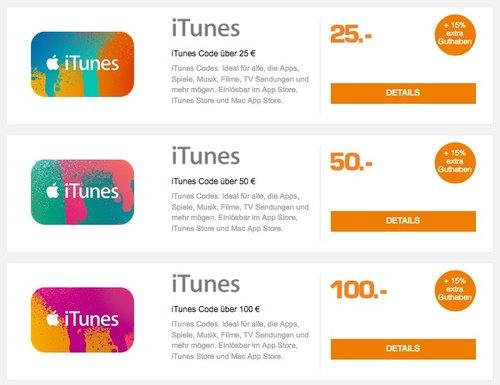 Saturn: 15% Extra-Guthaben beim Kauf von iTunes Guthaben 25€, 50€ oder 100€ - jetzt 13% billiger