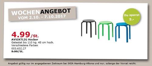 IKEA AVSIKTLIG Hocker, 45 cm hoch, versch. Farben - jetzt 50% billiger