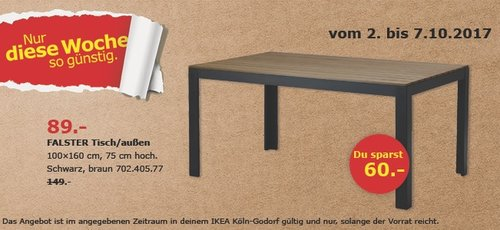 IKEA FALSTER Tisch/außen, 100x160 cm - jetzt 40% billiger