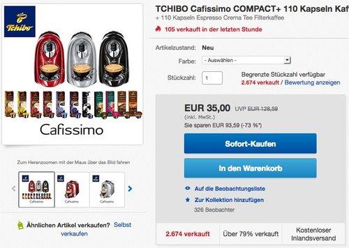TCHIBO Cafissimo COMPACT inkl. 110 Kapseln - jetzt 46% billiger
