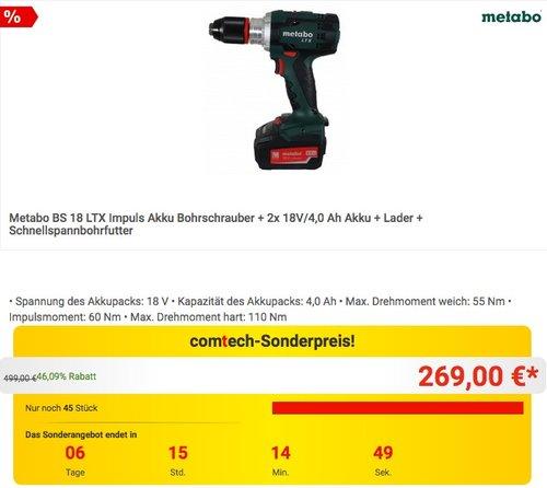 Metabo BS 18 LTX Impuls Akku Bohrschrauber + 2x 18V/4,0 Ah Akku + Lader + Schnellspannbohrfutter - jetzt 10% billiger