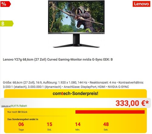 Lenovo Y27g 68,58 cm (27 Zoll Full HD matt) Curved Monitor (HDMI 1.4, DisplayPort 1.2, 4 ms Reaktionszeit) - jetzt 17% billiger