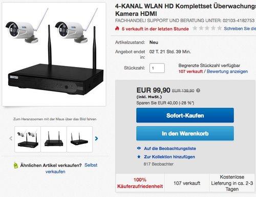 Inkovideo  Komplettset WLAN-Set / 4-Kanal Netzwerkrekorder mit 2 x HD Überwachungskamera - jetzt 21% billiger