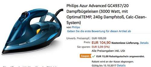 Philips Azur Advanced GC4937/20 Dampfbügeleisen - jetzt 14% billiger