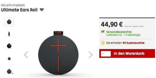 Ultimate Ears ROLL Lautsprecher (Bluetooth, Wasserdicht, Schlagfest) schwarz - jetzt 31% billiger