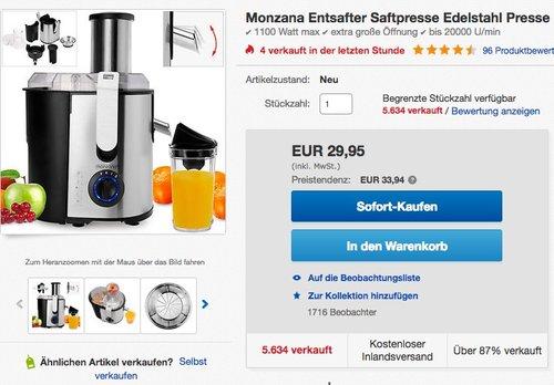Monzana Entsafter für Obst und Gemüse aus Edelstahl Motorleistung max. 1100W - jetzt 21% billiger