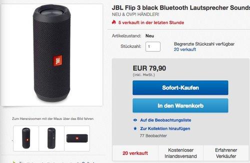 JBL Flip 3 Spritzwasserfester Tragbarer Bluetooth-Lautsprecher - jetzt 16% billiger