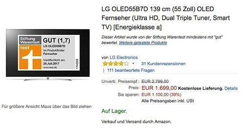 LG OLED55B7D 139 cm (55 Zoll) OLED Fernseher (Ultra HD, Dual Triple Tuner, Smart TV)  - jetzt 7% billiger