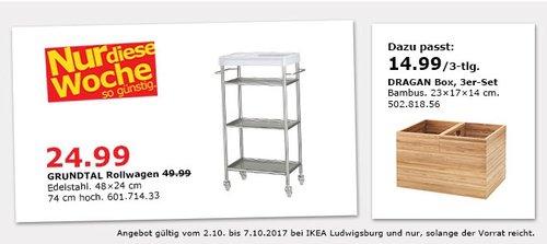 IKEA GRUNDTAL Rollwagen, 48x24 cm, 74 cm hoch. Edelstahl - jetzt 50% billiger