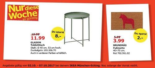 IKEA GLADOM Tablettisch, 45x53 cm. Stahl - jetzt 40% billiger