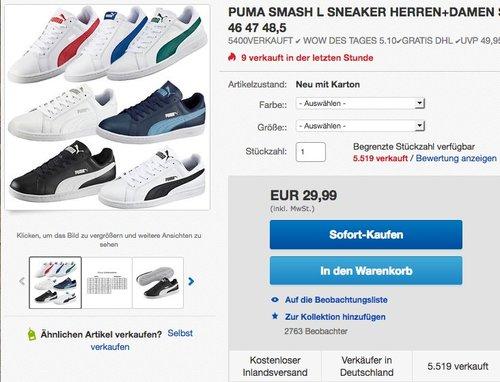Puma Smash Leather Unisex-Erwachsene Sneaker - jetzt 12% billiger