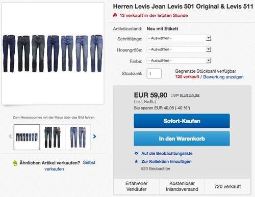 Herren Levis Jean Levis 501 Original - jetzt 25% billiger