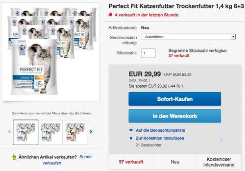 Perfect Fit Katzenfutter Trockenfutter 9x1,4 kg - jetzt 9% billiger
