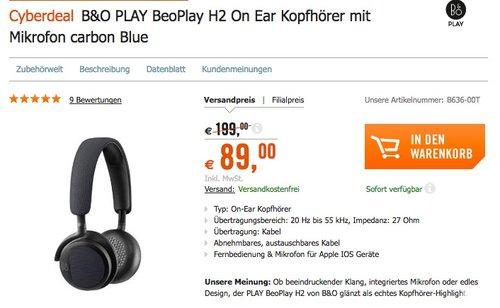 B&O PLAY by Bang & Olufsen Beoplay H2 On-Ear Kopfhörer - jetzt 26% billiger