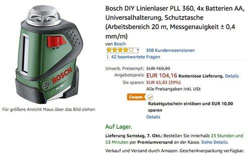 Bosch DIY Linienlaser PLL 360 Set - jetzt 11% billiger