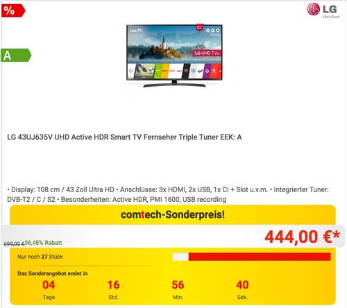 LG 43UJ635V 108 cm (43 Zoll) Fernseher (Ultra HD, Triple Tuner, Smart TV, Active HDR) - jetzt 11% billiger
