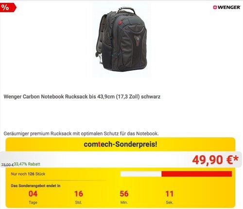 """Wenger Carbon SwissGear Laptoprucksack 17"""" - jetzt 21% billiger"""