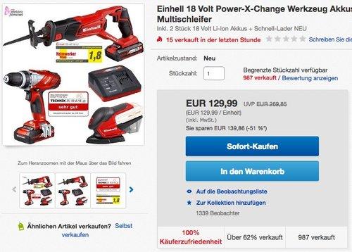 Einhell Werkzeug-Set TE-TK 18 Li Power X-Change (Lithium Ionen, 18 V, Bohrschrauber, Säbelsäge, Multischleifer, inkl. 2 x 1,5 Ah Akku und Ladegerät) - jetzt 10% billiger