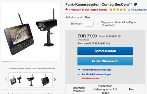 COMAG Digitales Kamera Funk-Überwachungs-Set SecCam11 - jetzt 9% billiger
