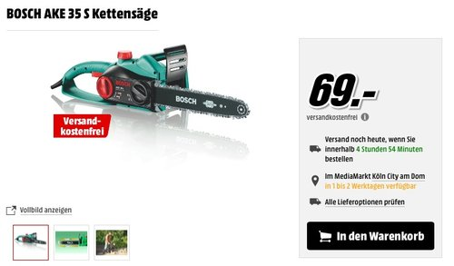 Bosch DIY Kettensäge AKE 35 S - jetzt 11% billiger