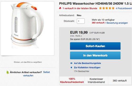 Philips HD4646/56 Wasserkocher (2400 W), weiß und orange - jetzt 49% billiger