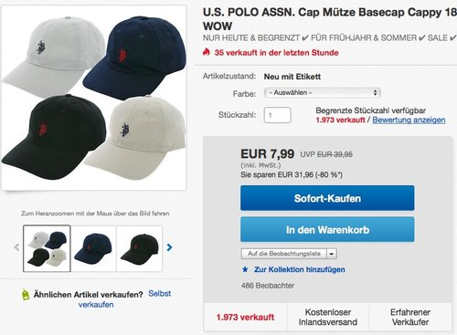 U.S. POLO ASSN. Cap Mütze Basecap Cappy - jetzt 47% billiger