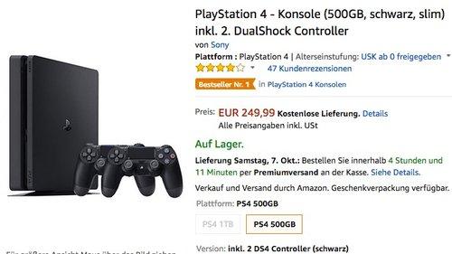 PlayStation 4 - Konsole (500GB, schwarz, slim) inkl. 2. DualShock Controller  - jetzt 17% billiger