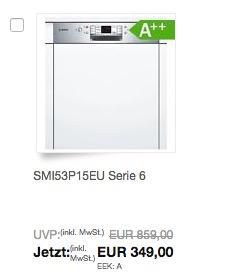 Bosch SMI53P15EU Serie 6 Geschirrspüler Teilintegriert - jetzt 17% billiger