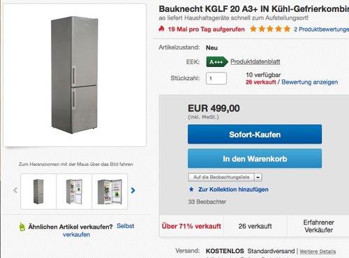 Bauknecht KGLF 20 A3+ IN Kühl-Gefrier-Kombination  - jetzt 5% billiger