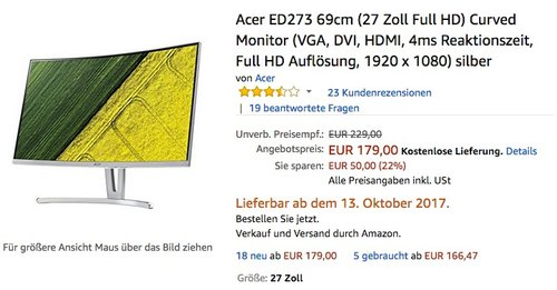 Acer ED273 69cm (27 Zoll Full HD) Curved Monitor - jetzt 14% billiger