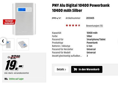 PNY Alu Digital 10400 Powerbank 10400 mAh Silber - jetzt 32% billiger