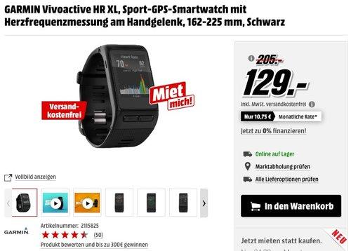 GARMIN Vivoactive HR XL, Sport-GPS-Smartwatch mit Herzfrequenzmessung am Handgelenk - jetzt 28% billiger