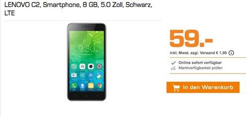 LENOVO C2, Smartphone, 8 GB, 5.0 Zoll, Schwarz, LTE - jetzt 24% billiger