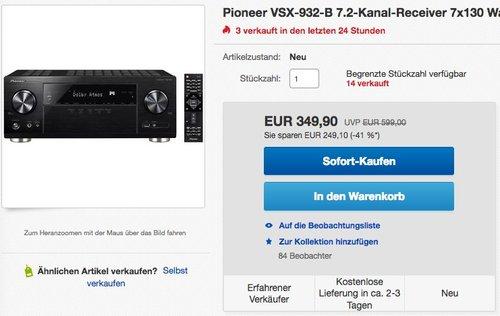 Pioneer VSX-932-B 7.2 Netzwerk AV-Receiver  - jetzt 12% billiger