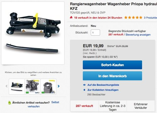 Rangierwagenheber Wagenheber Priopa hydraulisch 2t  - jetzt 53% billiger