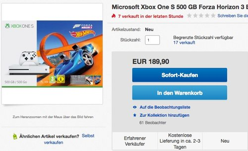 Xbox One S 500GB Konsole - Forza Horizon 3 Hot Wheels Bundle - jetzt 17% billiger
