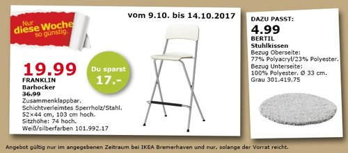 IKEA FRANKLIN Barhocker, 52x44 cm, 103 cm hoch - jetzt 46% billiger