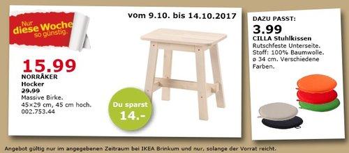 IKEA NORRAKER Hocker, massive Birke, 45x29 cm, 45 cm hoch - jetzt 47% billiger