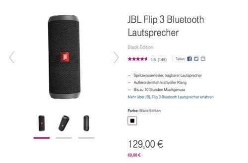 JBL Flip 3 Bluetooth Lautsprecher Schwarz - jetzt 14% billiger