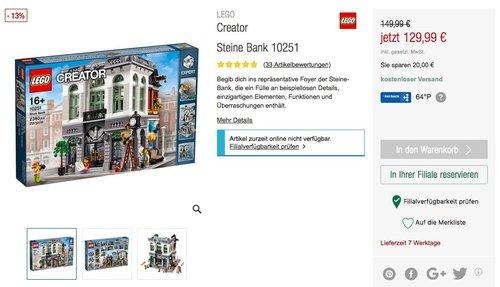 Lego 10251 Steine-Bank - jetzt 21% billiger