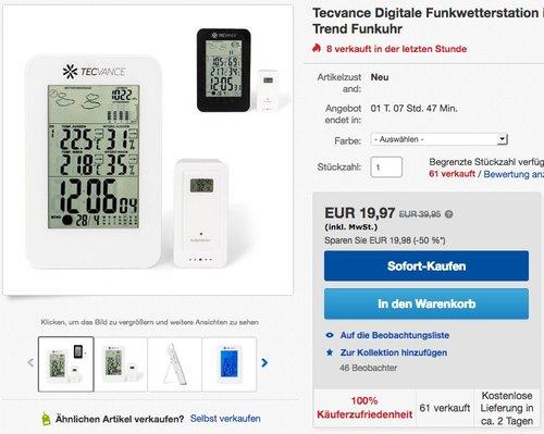 Tecvance NT-1898 Digitale Funkwetterstation inkl. Außensensor - jetzt 20% billiger