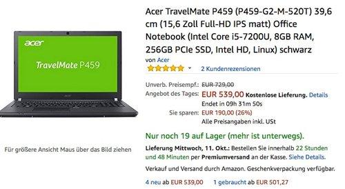 Acer TravelMate (P459-G2-M-520T) 15,6 Zoll Full-HD IPS, Intel Core i5-7200U, 8GB, 256GB SSD, ohne Windows - jetzt 26% billiger