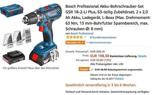 Bosch Professional Akku-Bohrschrauber-Set GSR 18-2-LI Plus, 63-teilig Zubehörset, 2 x 2,0 Ah Akku, Ladegerät, L-Boxx - jetzt 15% billiger
