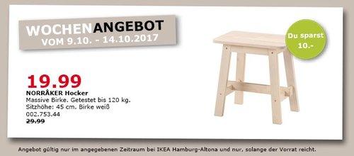 IKEA NORRAKER Hocker, 45 cm hoch, weiß - jetzt 33% billiger